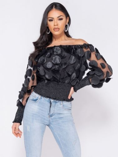 Bardot Sheer 3D Floral Shirring Detail Crop Top Black